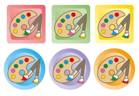 Painting palette and brush-icon set