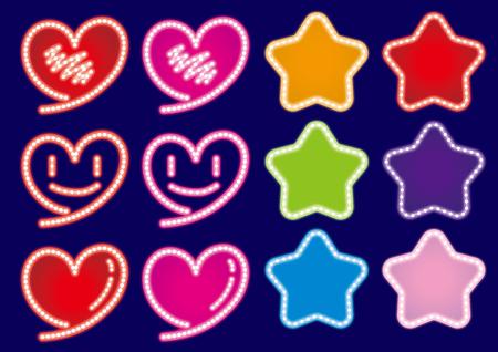 Hearts & Stars neon sign set