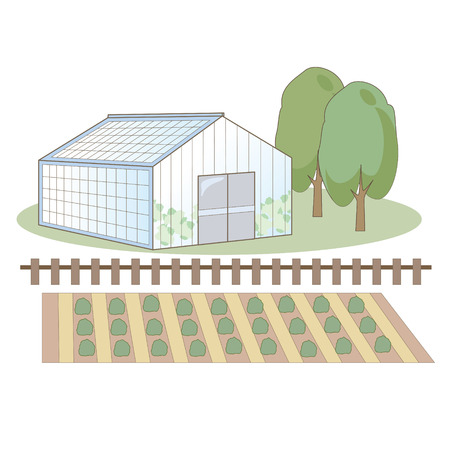 Agricultural plastic house Stock Illustratie