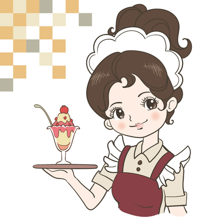 Retro Japan waitress image Stock Illustratie