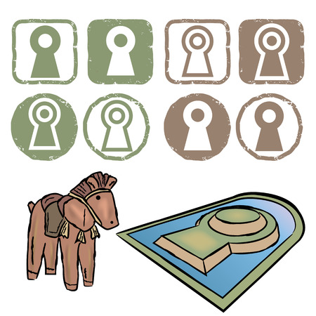 Ancient Imperial graves in Japan-symbol icon set