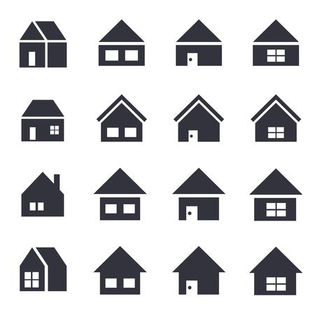 Home icon 16 set-monochrome silhouette