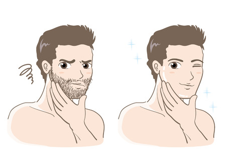 Mens esthetic skin care set-Before and after Illustration