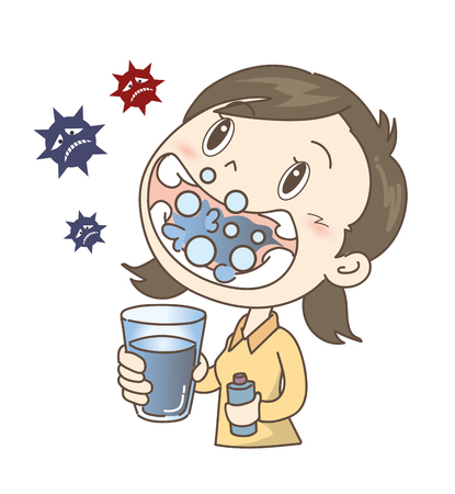 Prevention of colds and influenza-gargle-girl Stock Vector - 112803562