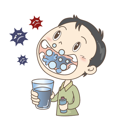 Prevention of colds and influenza-gargle-Boy Illustration