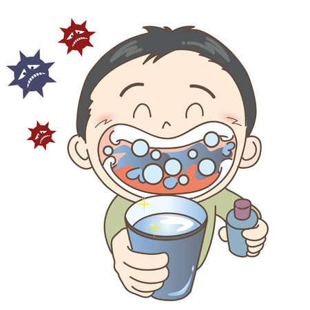 Prevention of colds and influenza-gargle-girl Stock Vector - 115793892