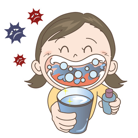 Prevention of colds and influenza-gargle-girl Stock Vector - 115793896