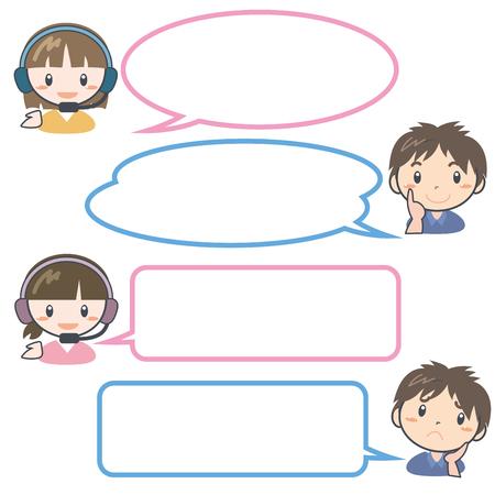 Customer Center Operator - Speech balloon set