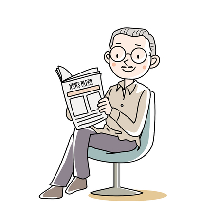 Senior male sitting and reading a news paper