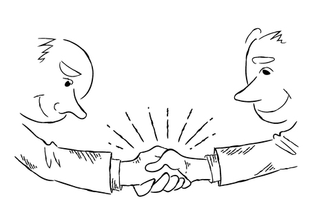 Businessman shaking hands-line drawing