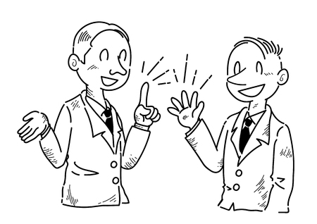 Businessman who is having fun speaking opinions. Illustration