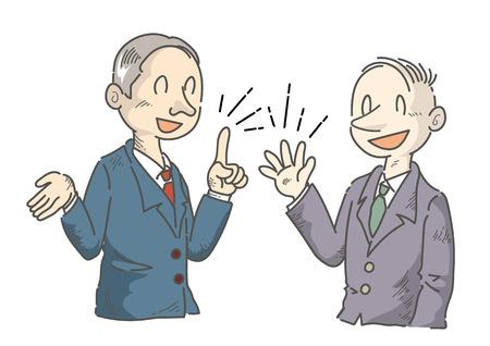 Businessman who is having fun speaking opinions-manga