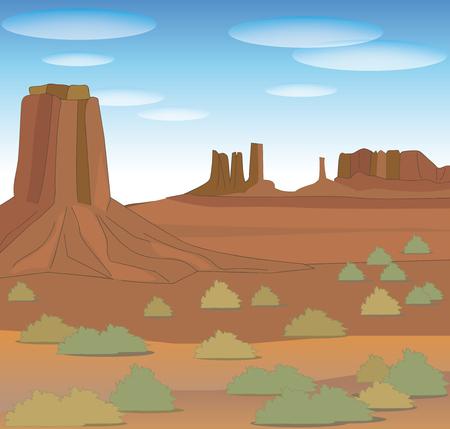Monument Valley-Naturbild von Nordamerika Vektorgrafik