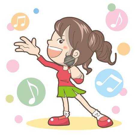 Woman sing a song-Karaoke