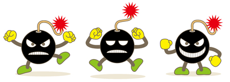 bomb emojis set and Vector image of web material