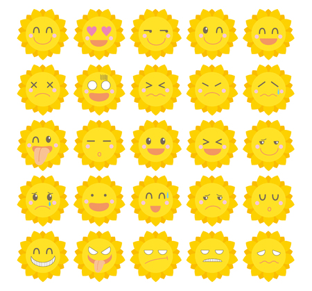 Character icon set-Cute sun