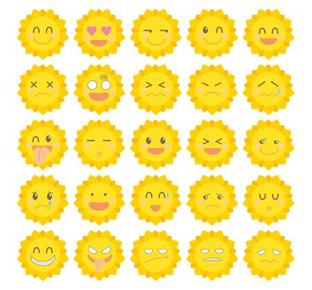 Character icon set-Cute sun