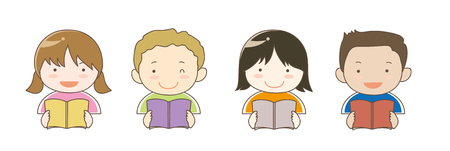 Children in the world who is reading books Stock Vector - 117202328