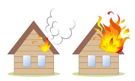 House fire image set Illustration