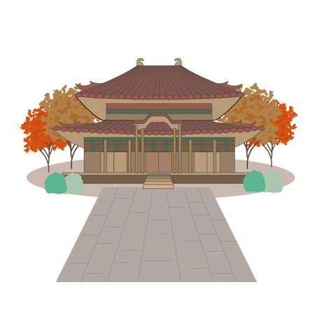 Temple and autumn leaves image Stock Vector - 117694136