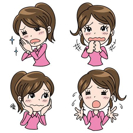 Girl emotional expression set-Help Illustration