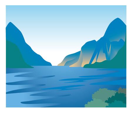 Fjord image-Natural landscape  イラスト・ベクター素材