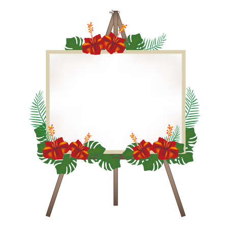Canvas easel-hibiscus decoration