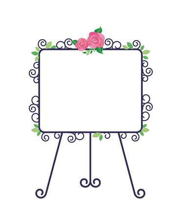 Iron easel and Whiteboard-Fashionable roses decoration Stock Vector - 119584394