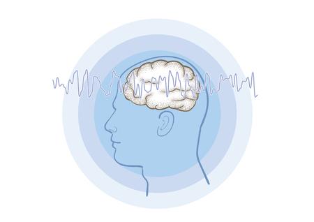 Brainwaves image-telepathy Illustration