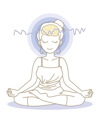 Meditation and brain waves-Woman Illustration