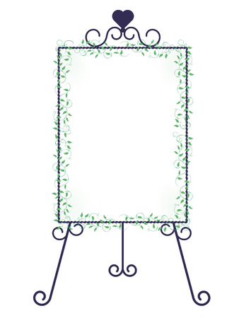 Iron easel and ivy decoration-Vertical type Stock Vector - 120556290