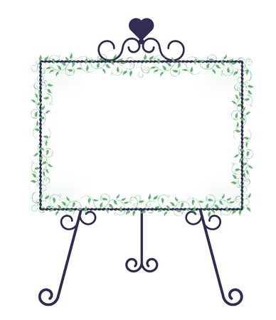 Iron easel and ivy decoration-Horizontal type