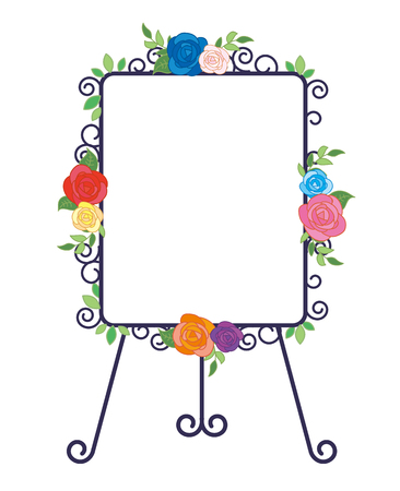 Iron easel and Whiteboard-Fashionable roses decoration