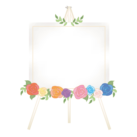 Canvas easel-Fashionable roses decoration Stock Vector - 120556294