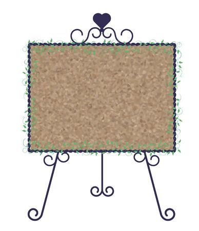 Stand signboard-iron & cork board-horizontal type Stock Vector - 120556296