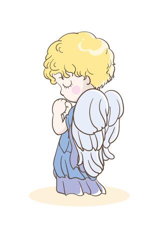 Prayer child-angel images-Side Stock Vector - 120553939