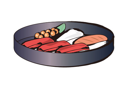Sushi + dish + various + sets +-+ Brush + painting
