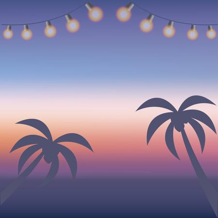Sunset + Beach +-+ + Palm + Tree + Silhouette