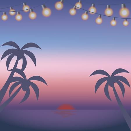 Sunset    Beach Illustration