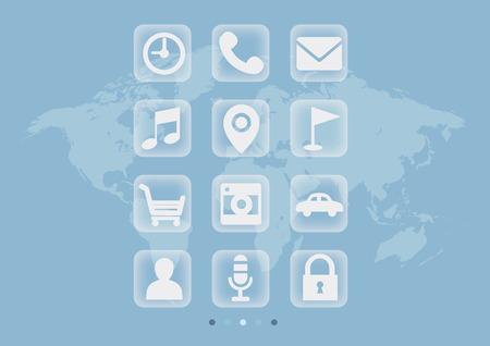 Transparent Touch Panel, world map background Illustration