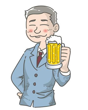 Office worker-Drunk scene with beer
