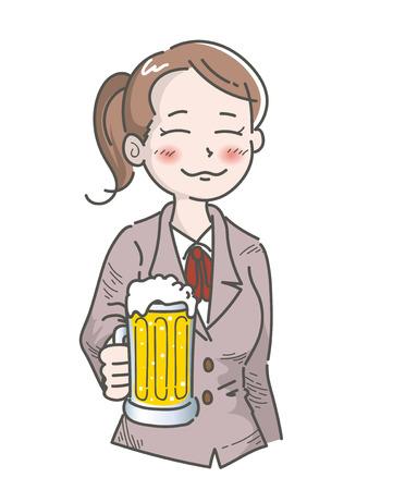 Female office worker-Drunk scene with beer