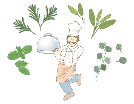 Herbal food and chef image Illustration