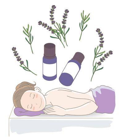 Aromaöl und kleine Fläschchen - Massagebild mit Lavendel