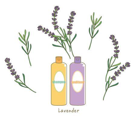 Organic lavender shampoo - With lavender Flower image Illustration
