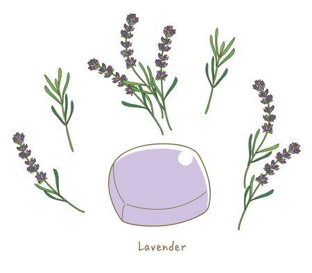 Organic lavender soap - With lavender Flower image Illustration