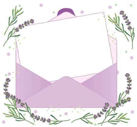 Open envelope and letter paper - Lavender Background