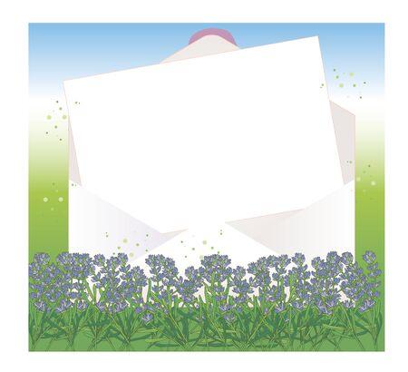 Open envelope and letter paper - Lavender field Background