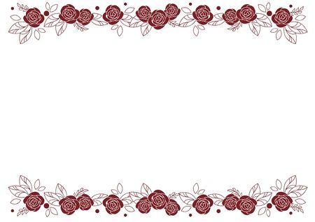 Rose Frame - Decorative Line- Red
