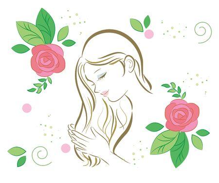Organic Rose - hair care women Vector Illustration
